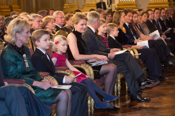 Prince Gabriel, Princess Eleonore, Queen Mathilde, King Philippe of Belgiuim, Princess Elisabeth and Prince Emmanuel of Belgium attend the Xmas Concert at the Royal Palace on December 17, 2014 in Brussel, Belgium.