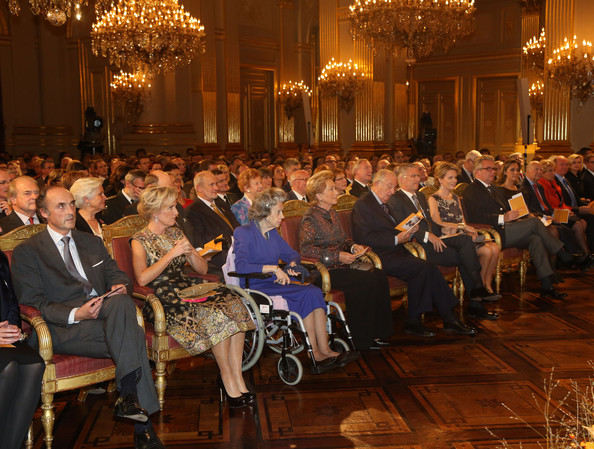 Prince Lorentz, Princess Astrid, Queen Fabiola, Queen Paola, King Albert, Prince Philippe, Princess Mathilde, Prince Laurent and Princess Claire of Belgium attend a concert as part of 'Festival van Vlaanderen' at Palais de Bruxelles on October 24, 2012 in Brussel, Belgium.