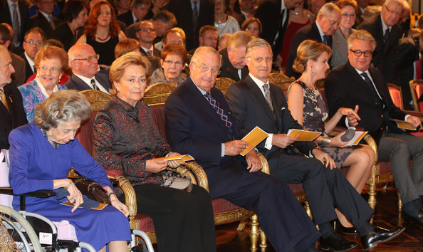 Queen Fabiola, Queen Paola, King Albert, Prince Philippe and Princess Mathilde of Belgium attend a concert as part of 'Festival van Vlaanderen' at Palais de Bruxelles on October 24, 2012 in Brussel, Belgium.