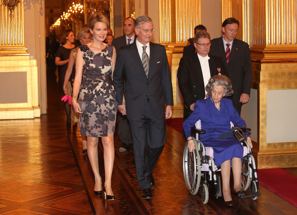 Princess Mathilde, Prince Philippe and Queen Fabiola of Belgium attend a concert as part of 'Festival van Vlaanderen' at Palais de Bruxelles on October 24, 2012 in Brussel, Belgium.