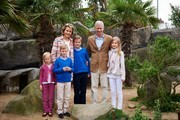 Princess Eleonore, Prince Gabriel, Queen Mathilde, Prince Emmanuel, King Philippe and Princess Elisabeth of Belgium visit Sealife on July 12, 2014 in Blankenberge, Belgium.