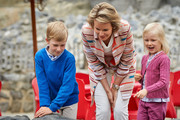 Prince Emmanuel, Queen Mathilde and Princess Eleonore of Belgium visit Sealife on July 12, 2014 in Blankenberge, Belgium.