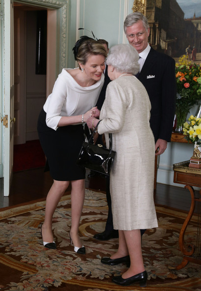 Queen Elizabeth II greets King Philippe and Queen Mathilde of Belgium at Buckingham Palace on March 13, 2014 in London, England. King Philippe and Queen Mathilde of Belgium are on an official one day trip to London.