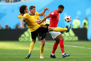 Ruben Loftus-Cheek of England is challenged by Axel Witsel and Jan Vertonghen of Belgium during the 2018 FIFA World Cup Russia 3rd Place Playoff match between Belgium and England at Saint Petersburg Stadium on July 14, 2018 in Saint Petersburg, Russia.