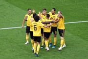 Thomas Meunier of Belgium celebrates with team mates after scoring his team's first goal  during the 2018 FIFA World Cup Russia 3rd Place Playoff match between Belgium and England at Saint Petersburg Stadium on July 14, 2018 in Saint Petersburg, Russia.