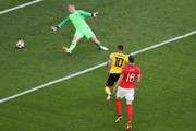 Eden Hazard of Belgium scores his team's second goal during the 2018 FIFA World Cup Russia 3rd Place Playoff match between Belgium and England at Saint Petersburg Stadium on July 14, 2018 in Saint Petersburg, Russia.