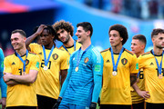 Thomas Vermaelen, Dedryck Boyata, Marouane Fellaini, Thibaut Courtois and Axel Witsel of Belgium celebrate victory following the 2018 FIFA World Cup Russia 3rd Place Playoff match between Belgium and England at Saint Petersburg Stadium on July 14, 2018 in Saint Petersburg, Russia.