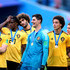 Axel Witsel Photos - Thomas Vermaelen, Dedryck Boyata, Marouane Fellaini, Thibaut Courtois and Axel Witsel of Belgium celebrate victory following the 2018 FIFA World Cup Russia 3rd Place Playoff match between Belgium and England at Saint Petersburg Stadium on July 14, 2018 in Saint Petersburg, Russia. - Belgium vs. England: 3rd Place Playoff - 2018 FIFA World Cup Russia