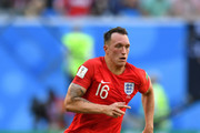Phil Jones of England runs with the ball during the 2018 FIFA World Cup Russia 3rd Place Playoff match between Belgium and England at Saint Petersburg Stadium on July 14, 2018 in Saint Petersburg, Russia.