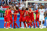Romelu Lukaku of Belgium celebrates after scoring his side's second goal with team mates during the 2018 FIFA World Cup Russia group G match between Belgium and Panama at Fisht Stadium on June 18, 2018 in Sochi, Russia.