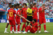Eden Hazard of Belgium helps teammate Yannick Carrasco to stand after he wsa fouled during the 2018 FIFA World Cup Russia group G match between Belgium and Panama at Fisht Stadium on June 18, 2018 in Sochi, Russia.
