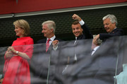 (L-R) Belgium's  Queen Mathilde, King Philippe, French President Emmanuel Macron and french  Foreign Minister Didier Reynders attend the 2018 FIFA World Cup Russia Semi Final match between Belgium and France at Saint Petersburg Stadium on July 10, 2018 in Saint Petersburg, Russia.