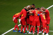 Nacer Chadli of Belgium celebrates after scoring his team's third goal with team mates during the 2018 FIFA World Cup Russia Round of 16 match between Belgium and Japan at Rostov Arena on July 2, 2018 in Rostov-on-Don, Russia.
