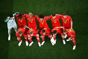 The Belgium players pose for a team photo prior to the 2018 FIFA World Cup Russia Round of 16 match between Belgium and Japan at Rostov Arena on July 2, 2018 in Rostov-on-Don, Russia.