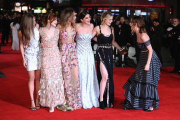 Bella Heathcote Lily James 'Pride and Prejudice and Zombies' - European Film Premiere - Red Carpet