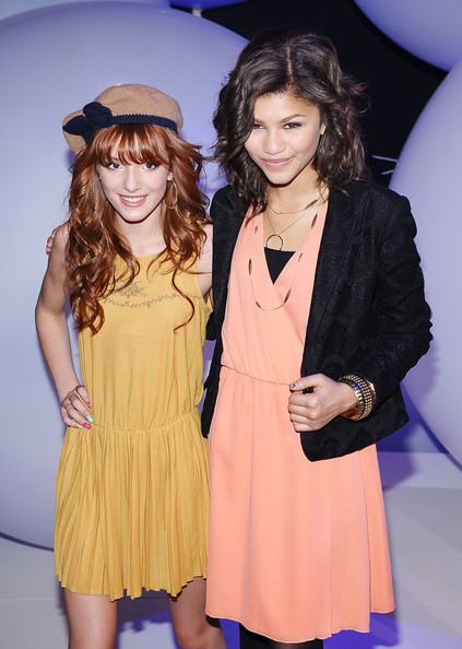 Bella Thorne Actresses Bella Thorne (L) and Zendaya Coleman attend the 2011 Disney Kids & Family upfront at Gotham Hall on March 16, 2011 in New York City.