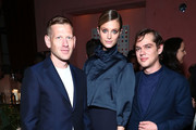 (L-R) Paul Andrew, Kate Bock and Ellar Coltrane attend the UOMO Salvatore Ferragamo celebration hosted by Ben Barnes at Rose Bar at Gramercy Park Hotel on April 26, 2017 in New York City.