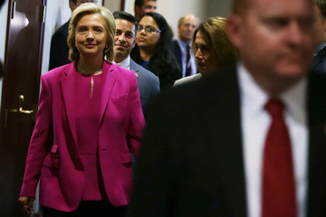 Ben Ray Lujan Presidential Candidate Hillary Clinton Attends Meetings With Legislators on Capitol Hill