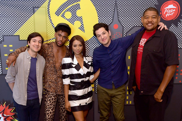 Pizza Hut Lounge at 2018 Comic-Con International: San Diego [event,yellow,youth,party,leisure,team,actors,josh brener,ben schwartz,omar miller,brandon mychal smith,kat graham,pizza hut lounge,andaz san diego,california,comic-con international: san diego]