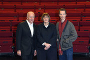 Benedict Cumberbatch poses with the new LAMDA Director, Sarah Frankcom, and Shaun Woodward, Chair, at LAMDA on February 28, 2019 in London, England.