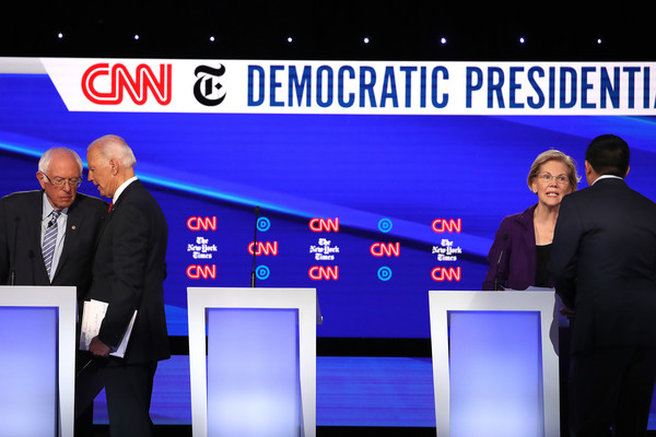 Democratic Presidential Candidates Participate In Fourth Debate In Ohio [news,event,newsreader,television program,media,company,business,stage equipment,businessperson,display device,bernie sanders,candidates,andrew yang,joe biden,elizabeth warren,debate,i-vt,debate,ohio,democratic]