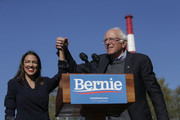 Rep. Alexandria Ocasio-Cortez (D-NY) endorses Democratic presidential candidate, Sen. Bernie Sanders (I-VT) at a campaign rally in Queensbridge Park on October 19, 2019 in the Queens borough of New York City. This is Sanders' first rally since he paused his campaign for the nomination due to health problems.