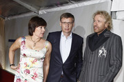 Guenther Jauch (C) with his wife Thea Jauch (L) and Thomas Gottschalk attend the annual Bertelmann party 2011 on September 14, 2011 in Berlin, Germany.