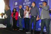 (L-R) Ted Allen, Maneet Chauhan, Geoffrey Zakarian, Amanda Freitag, Marc Murphy and Aaron Sanchez speak at Best Bloody Mary Brunch Presented By Velocity Hosted By The Cast Of Chopped during Food Network & Cooking Channel New York City Wine & Food Festival presented By FOOD & WINE at Pier 60 on October 18, 2015 in New York City.