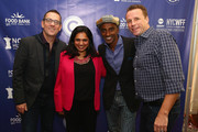 (L-R) Ted Allen with chefs Maneet Chauhan, Marcus Samuelsson and Marc Murphy attend Best Bloody Mary Brunch Presented By Velocity Hosted By The Cast Of Chopped during Food Network & Cooking Channel New York City Wine & Food Festival presented By FOOD & WINE at Pier 60 on October 18, 2015 in New York City.