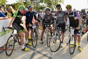 (L-R) Ted King,Tim Johnson, George Hincapie, Christian Vande Velde and Cam Wurf participate in the Best Buddies Challenge: Hyannis Port 2015 on May 30, 2015 in Boston, Massachusetts.