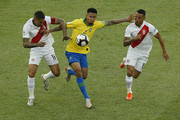Gabriel Jesus of Brazil fights for the ball with Paolo Guerrero and Yoshimar Yotun of Peru during the Copa America Brazil 2019 Final match between Brazil and Peru at Maracana Stadium on July 07, 2019 in Rio de Janeiro, Brazil.
