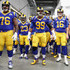 Jared Goff Photos - Rodger Saffold #76, Aaron Donald #99, and Jared Goff #16 of the Los Angeles Rams prepare to take the field prior to kickoff at Super Bowl LIII against the New England Patriots at Mercedes-Benz Stadium on February 3, 2019 in Atlanta, Georgia. - Best Moments from Super Bowl LIII