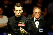 Mark Selby of England gestures after snookering himself in his Quarter Final match against Ronnie O'Sullivan of England during the Betfred.com World Snooker Championships at The Crucible Theatre on April 28, 2010 in Sheffield, England.