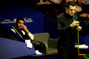 Ronnie O'Sullivan of England reacts during his Quarter Final match against Mark Selby in the Betfred.com World Snooker Championships at The Crucible Theatre on April 28, 2010 in Sheffield, England.