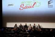"(L-R) Film critic Elvis Mitchell, executive producer Peter Gould, actors Bob Odenkirk, Rhea Seehorn, Patrick Fabian and Michael Mando attend the ""Better Call Saul"" ATAS FYC Event at Sony Pictures Studios on April 14, 2016 in Culver City, California."