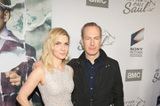 """Rhea Seehorn and Bob Odenkirk attend the premiere of AMC's """"Better Call Saul"""" Season 5 on February 05, 2020 in Los Angeles, California."""