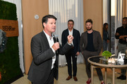 Better Homes & Gardens Publisher and SVP, Stephen Bohlinger, (L) gives a toast as Better Homes & Gardens Editor in Chief, Stephen Orr and Designer Bobby Berk look on during Better Homes & Gardens Stylemaker 2019 at PUBLIC Hotel on September 19, 2019 in New York City.