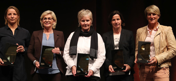 Hall Of Fame Gala In Dortmund [event,performance,inka grings,silke rottenberg,bettina wiegmann,tina theune,silvia neid,awards,l-r,dortmund,hall of fame gala,deutsches fussballmuseum]