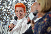 (L-R) Sandy Powell, Carlos Rosario and The Hollywood Reporter's Style and Fashion News Director, Booth Moore speak onstage at the Beverly Center's Grand Reveal Weekend: Candidly Costumes with The Hollywood Reporter at The Beverly Center on November 2, 2018 in Los Angeles, California.
