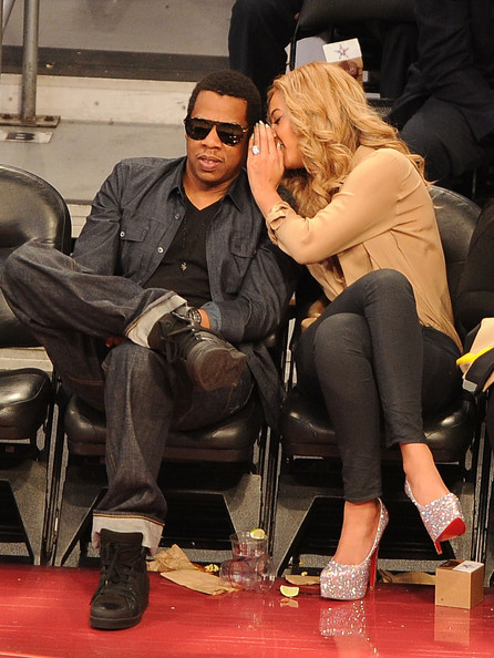 Beyonce Knowles Jay-Z (L) and singer Beyonce Knowles during the 2011 NBA All-Star game at Staples Center on February 20, 2011 in Los Angeles, California. NOTE TO USER: User expressly acknowledges and agrees that, by downloading and or using this photograph, User is consenting to the terms and conditions of the Getty Images License Agreement.