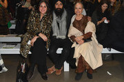 (L-R) Sabine Heller, Waris Ahluwalia, and Darshan Ahluwalia attend the Bibhu Mohapatra front row during New York Fashion Week: The Shows at Gallery II at Spring Studios on February 11, 2019 in New York City.