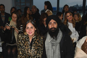 Sabine Heller and Waris Ahluwalia attend the Bibhu Mohapatra front row during New York Fashion Week: The Shows at Gallery II at Spring Studios on February 11, 2019 in New York City.