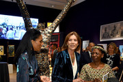 Noella Coursaris Musunka (L) and HRH The Princess Caroline of Hanover  attend a private view of 'Bienvenue Au Congo' hosted by Princess Caroline of Hanover at Bonhams on October 1, 2018 in London, England.