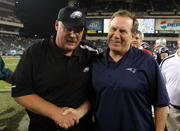New England Patriots v Philadelphia Eagles [product,sport venue,stadium,competition event,coach,championship,muscle,recreation,team,team sport,andy reid,bill belichick,hands,lincoln financial field,philadelphia,pennsylvania,philadelphia eagles,new england patriots,game]