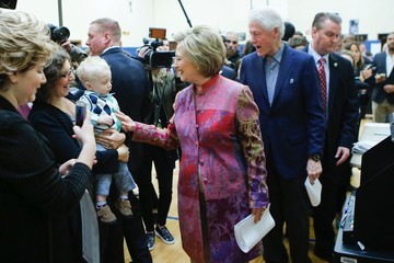 Bill Clinton Voters Head To The Polls In New York Primary