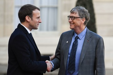 Bill Gates French President Emmanuel Macron Receives One Planet Summit's International Philanthropists at Elysee Palace in Paris