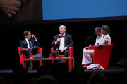 (L-R) Antonio Monda, Bill Murray and Wes Anderson attend the masterclass during the 14th Rome Film Festival on October 19, 2019 in Rome, Italy.