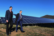 Leader of the Opposition, Australian Labor Party Bill Shorten (R) and Labor candidate for Eden-Monaro Mike Kelly (L) visit the Royalla Solar Farm on June 28, 2016 in Canberra, Australia. Mr Shorten used the visit to outline Labor's policy plans for the renewable energy sector, address climate change and create jobs.