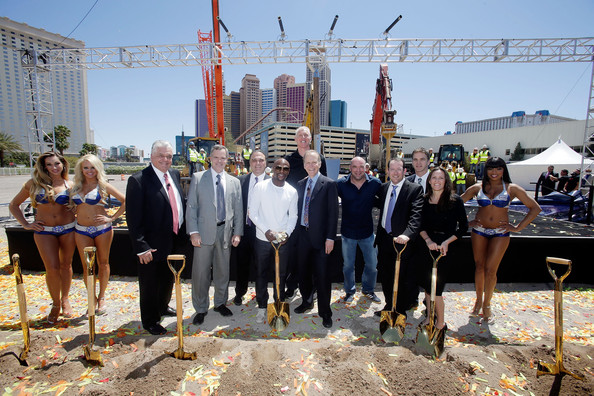 MGM Resorts and AEG Break Ground  [yellow,event,community,fun,tourism,city,team,ceremony,leisure,vacation,ceo,steve sisolak,jim murren,dan beckerman,dana white,floyd mayweather jr.,break ground,new las vegas arena,aeg,mgm resorts]