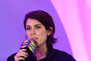 "Sara Quin of Tegan and Sara speaks onstage at the ""Queer Headliners 2019"" panel during the Billboard And The Hollywood Reporter Pride Summit on August 08, 2019 in West Hollywood, California."